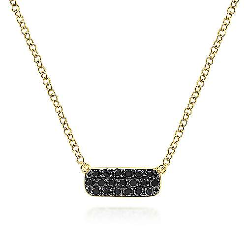 14K Yellow Gold Rectangular Black Diamond Pendant Necklace