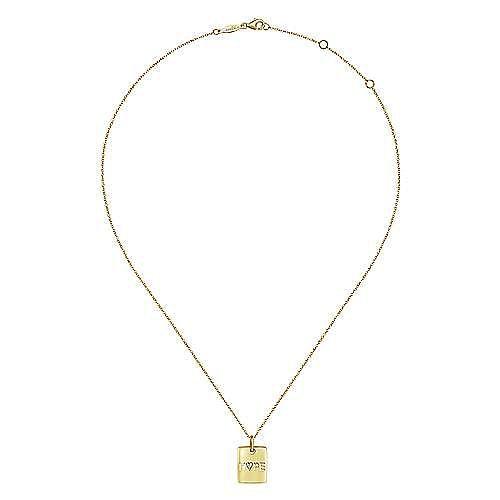 14K Yellow Gold Rectangular Hope Medallion Necklace with Pavé Diamond Heart