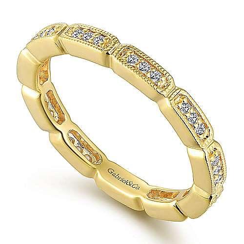 14K Yellow Gold Rectangular Station Diamond Eternity Ring