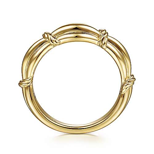 14K Yellow Gold Ring with Twisted Rope Stations
