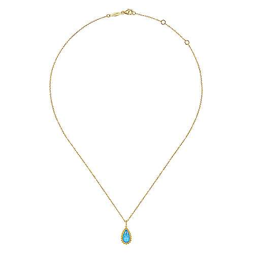 14K Yellow Gold Rock Crystal/Turquoise Pendant Necklace with Bujukan Beads