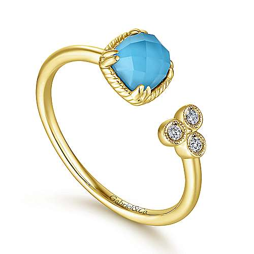 14K Yellow Gold Rock Crystal/Turquoise and Diamond Open Wrap Ring
