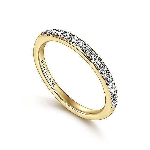 14K Yellow Gold Round 16 Stone Diamond Wedding Band