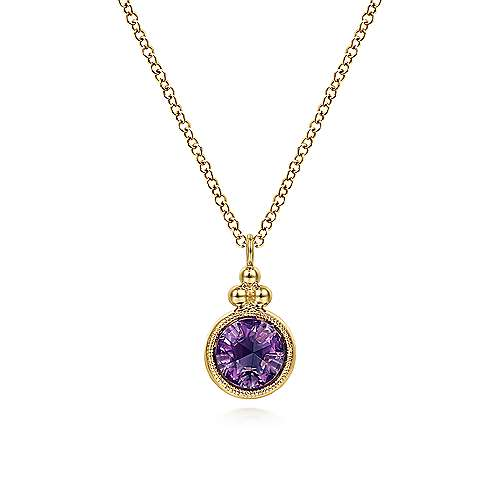 14K Yellow Gold Round Amethyst Pendant Necklace