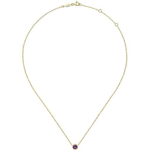 14K Yellow Gold Round Amethyst and Diamond Halo Pendant Necklace