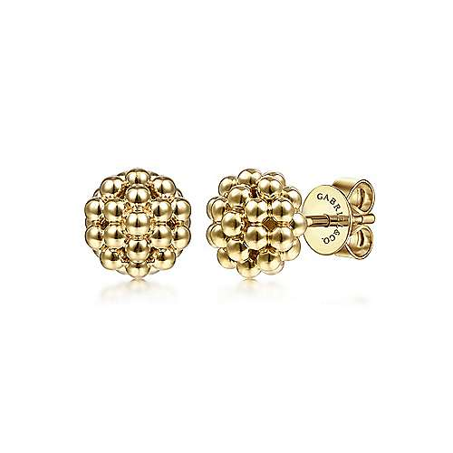 14K Yellow Gold Round Beaded Stud Earrings