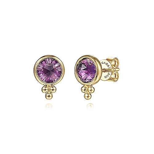 14K Yellow Gold Round Bezel Amethyst Stud Earrings
