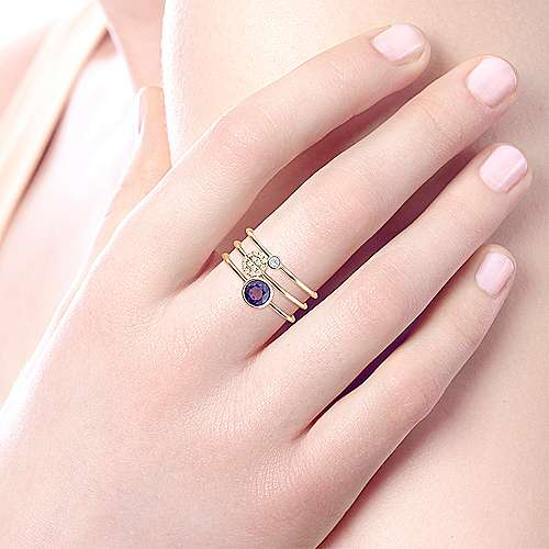 14K Yellow Gold Round Bezel Amethyst and Diamond Three Row Ring