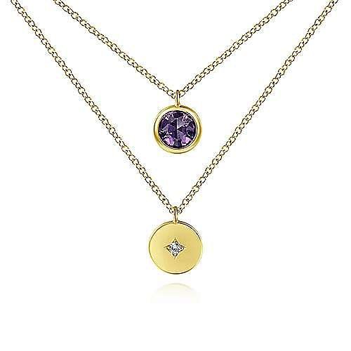 14K Yellow Gold Round Bezel Set Amethyst & Diamond Disc Two Row Necklace