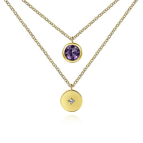 14K Yellow Gold Round Bezel Set Amethyst and Diamond Disc Two Row Necklace
