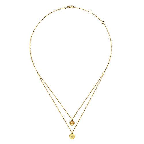 14K Yellow Gold Round Bezel Set Citrine and Diamond Disc Necklace
