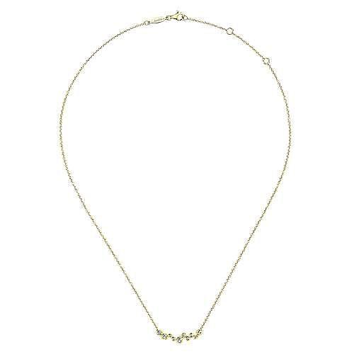 14K Yellow Gold Round Bezel Set Diamond Bubble Bar Necklace