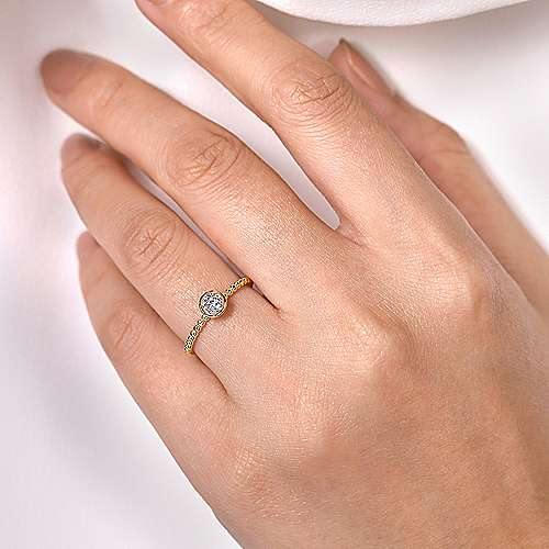 14K Yellow Gold Round Bezel Set Diamond Cluster Ring with Bujukan Beaded Shank