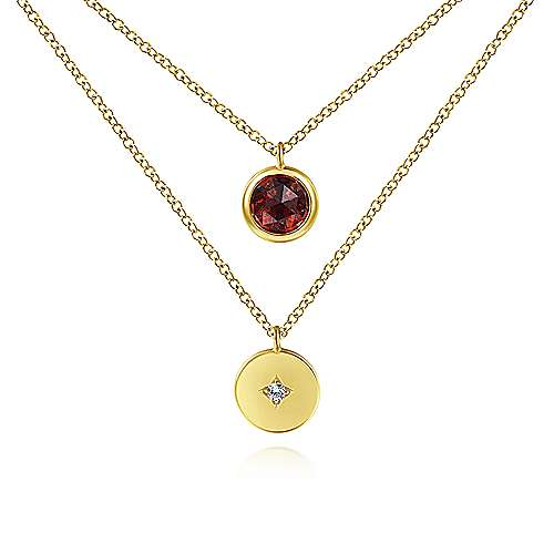 14K Yellow Gold Round Bezel Set Garnet and Diamond Disc Necklace