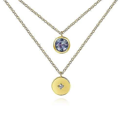 14K Yellow Gold Round Bezel Set Manmade Alexandrite and Diamond Disc Necklace