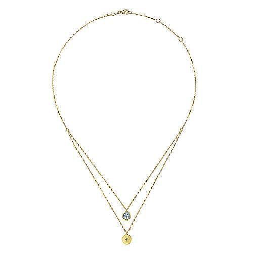 14K Yellow Gold Round Bezel Set Pink Created Zircon and Diamond Disc Necklace