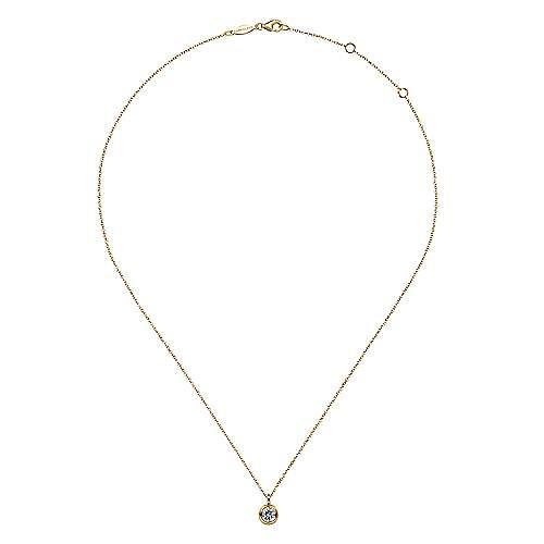 14K Yellow Gold Round Bezel Set White Sapphire Pendant Necklace