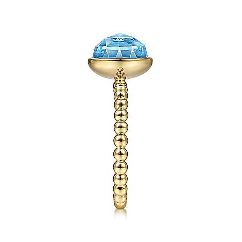 14K Yellow Gold Round Blue Topaz Bezel Set Ring with Bujukan Bead Shank