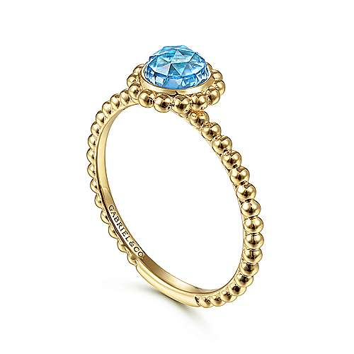 14K Yellow Gold Round Blue Topaz Bujukan Beaded Ring