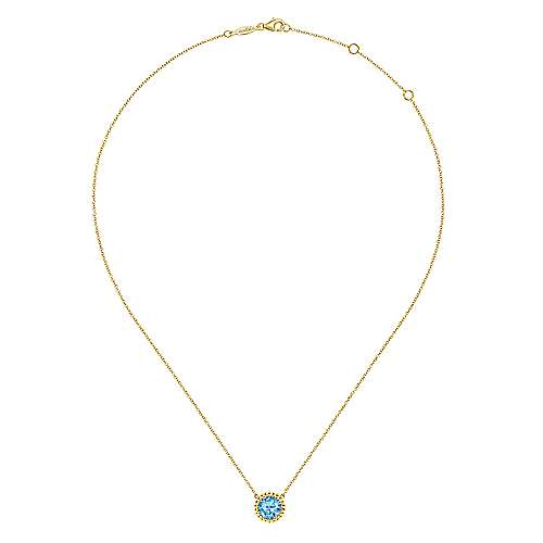 14K Yellow Gold Round Blue Topaz Pendant Necklace with Bujukan Bead Halo