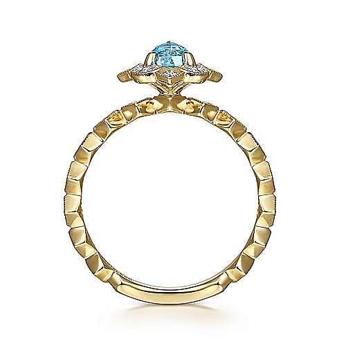 14K Yellow Gold Round Blue Topaz and Diamond Halo Ring