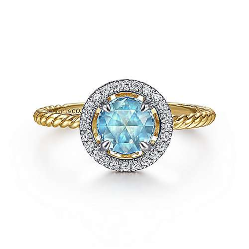 14K Yellow Gold Round Blue Topaz and Floating Diamond Halo Ring