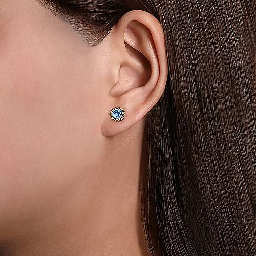 14K Yellow Gold Round Blue Topaz and Twisted Rope Frame Stud Earrings