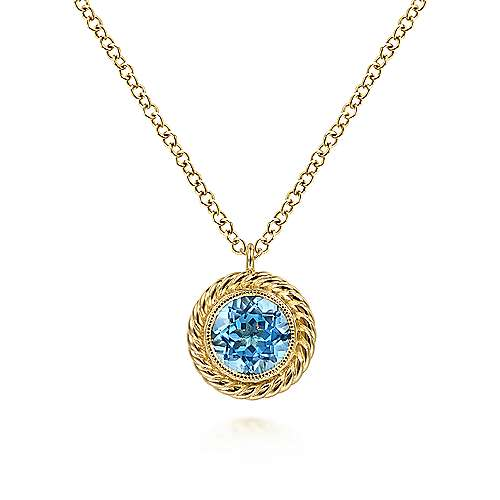 14K Yellow Gold Round Blue Topaz and Twisted Rope Pendant Necklace