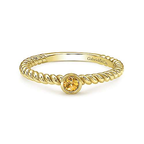 14K Yellow Gold Round Citrine Twisted Rope Ring