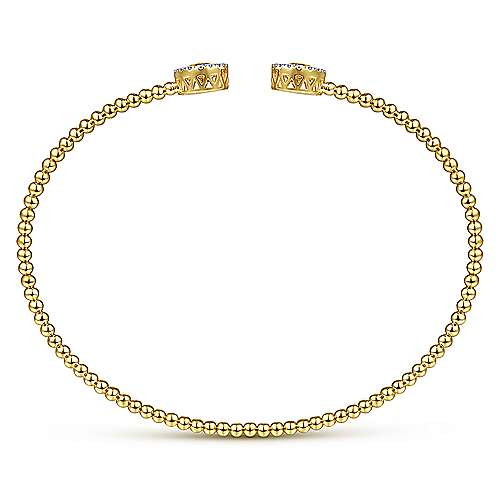 14K Yellow Gold Round Citrine and Diamond Halo Bujukan Bangle