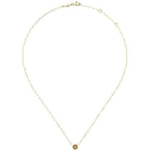 14K Yellow Gold Round Citrine and Diamond Halo Pendant Necklace
