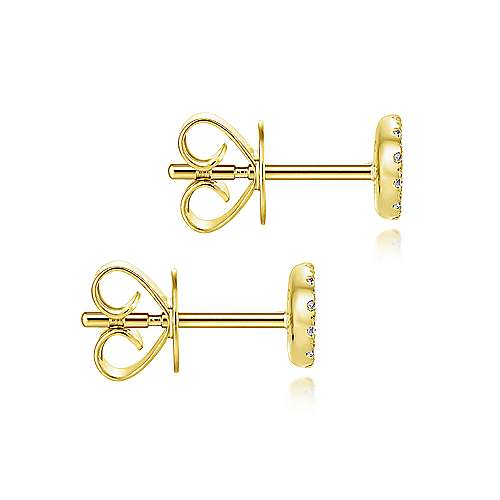 14K Yellow Gold Round Cluster Diamond Stud Earrings