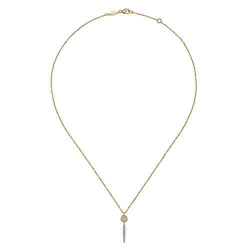 14K Yellow Gold Round Cluster Diamond and Spike Drop Pendant Necklace