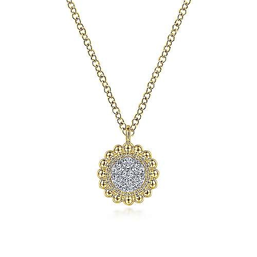 14K Yellow Gold Round Diamond Cluster Pendant Necklace with Bujukan Frame