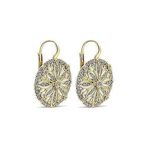 14K Yellow Gold Round Diamond Disc Flower Drop Earrings