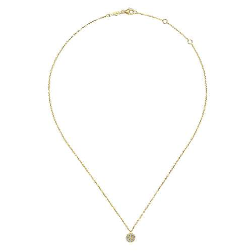 14K Yellow Gold Round Diamond Disc Pendant Necklace