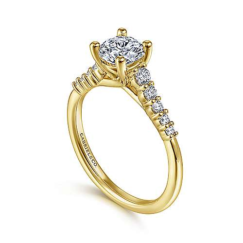 14K Yellow Gold Round Diamond Engagement Ring