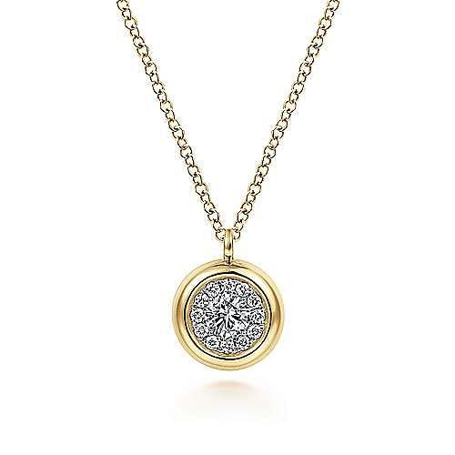 14K Yellow Gold Round Diamond Halo Pendant Necklace with Bezel Frame