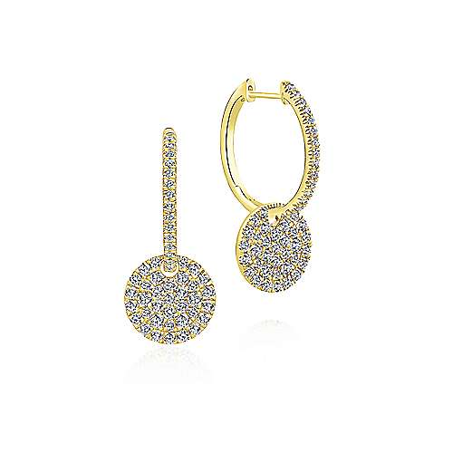 14K Yellow Gold Round Diamond Huggies with Cluster Disc Drops