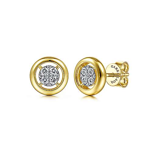 14K Yellow Gold Round Diamond Pavé Center Stud Earrings