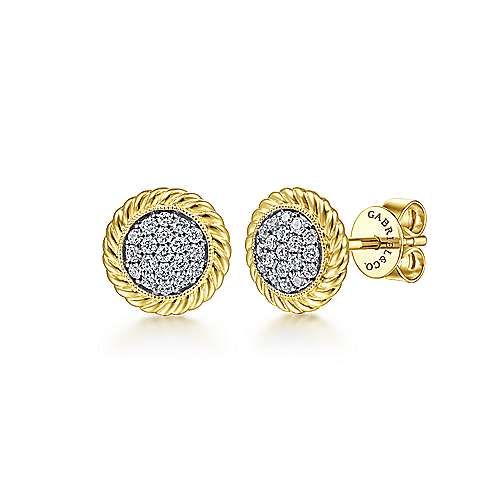 14K Yellow Gold Round Diamond Pavé Center Stud Earrings