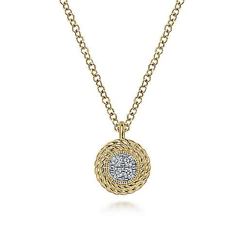 14K Yellow Gold Round Diamond Pavé Cluster Pendant Necklace with Twisted Rope Frame