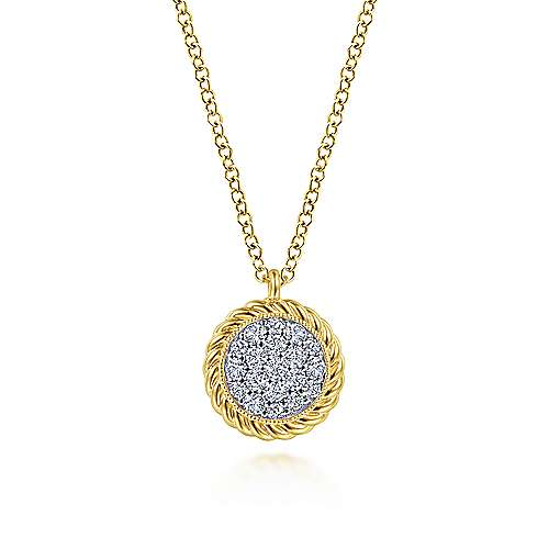 14K Yellow Gold Round Diamond Pavé Pendant Necklace with Twisted Rope Frame