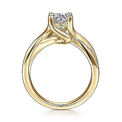 14K Yellow Gold Round Diamond Twisted Engagement Ring