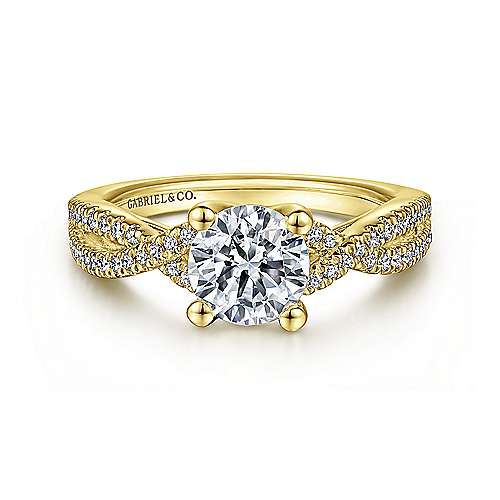 14K Yellow Gold Round Diamond Twisted Engagement Ring