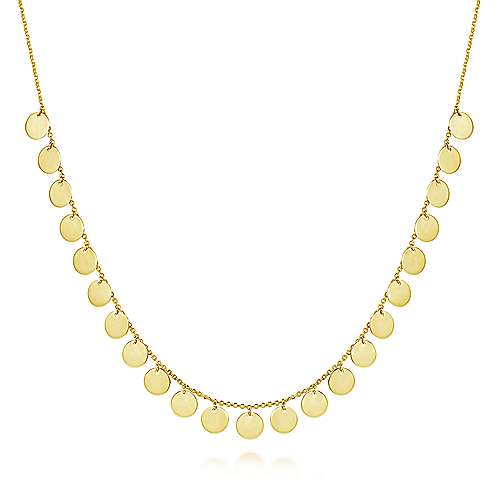 14K Yellow Gold Round Disc Drop Necklace