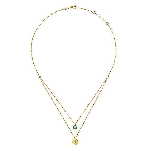 14K Yellow Gold Round Emerald Pavé and Diamond Disc Necklace
