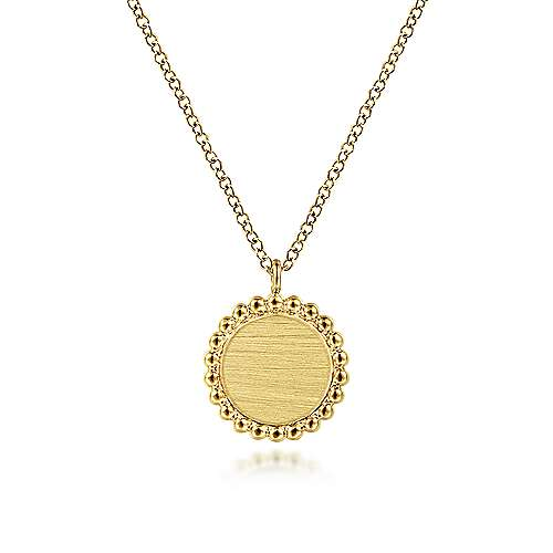 14K Yellow Gold Round Engravable Pendant Necklace with Bujukan Bead Frame