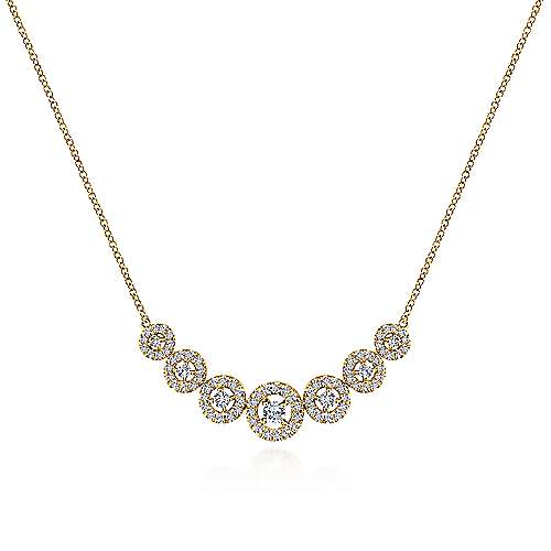 14K Yellow Gold Round Floating Diamond Curved Bar Necklace