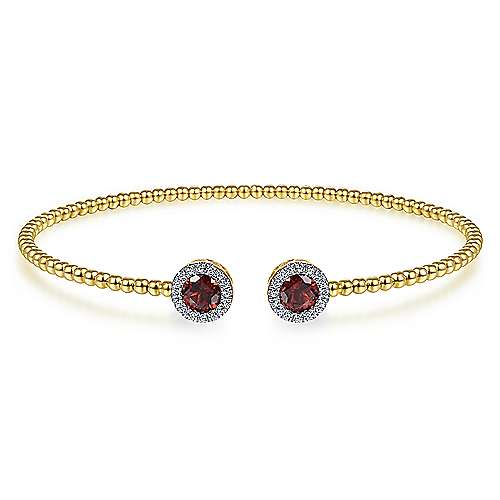 14K Yellow Gold Round Garnet and Diamond Halo Bujukan Bangle